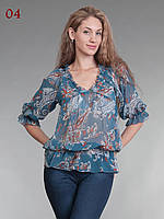 Блузка туника из шифона синяя, фото 1