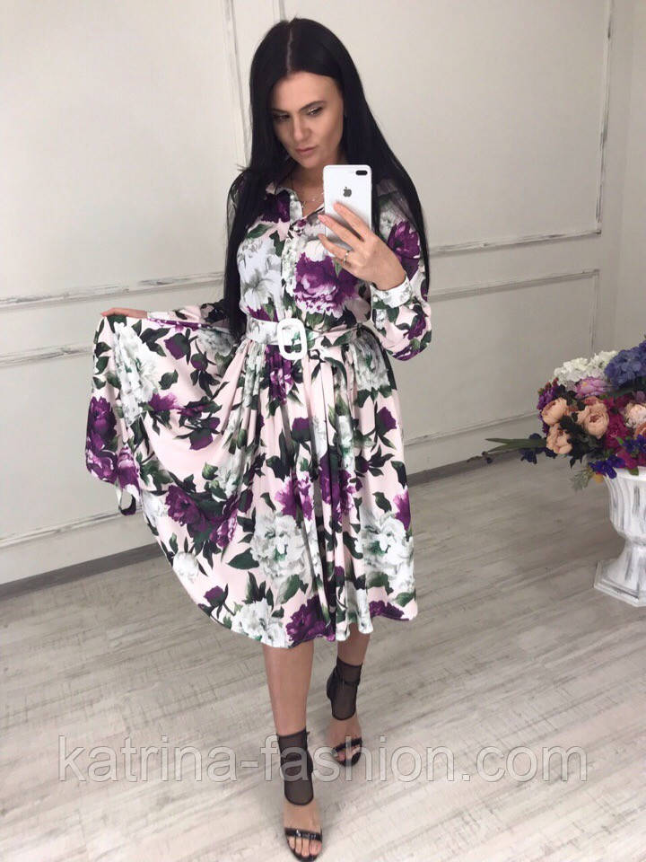 Женское красивое платье-midi с цветочным принтом (в расцветках)