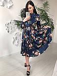 Женское красивое платье-midi с цветочным принтом (в расцветках), фото 5