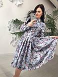 Женское красивое платье-midi с цветочным принтом (в расцветках), фото 8