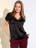 Шелковая блуза черного цвета. Модель 21110. Размеры 42-48, фото 1