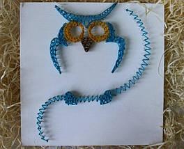 Блакитна Сова пано в техніці стрінг-арт String Art