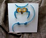 Блакитна Сова пано в техніці стрінг-арт String Art, фото 8