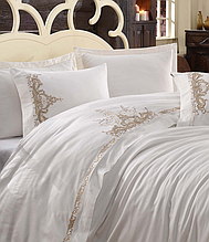 Комплект постільної білизни сатин люкс з вишивкою євро Dantela Vita Embroidered Olivia bej