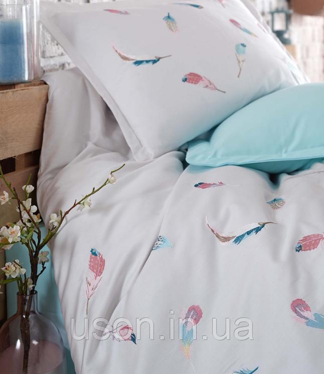 Комплект постельного белья сатин люкс c вышивкой евро Dantela Vita Embroidered Oriel