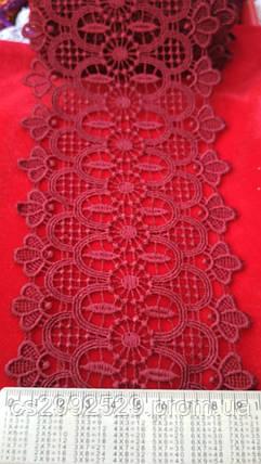 Кружево макраме с кордом 20 метров. Кружево макраме цветы Турецкое. Цвет бордовый, фото 2