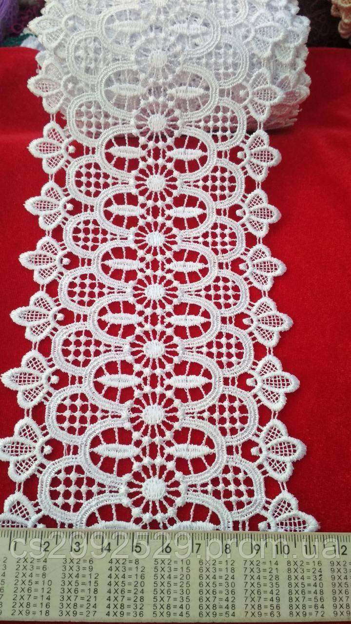 Кружево макраме с кордом 20 метров. Кружево макраме цветы для пошива и декора. Цвет белый