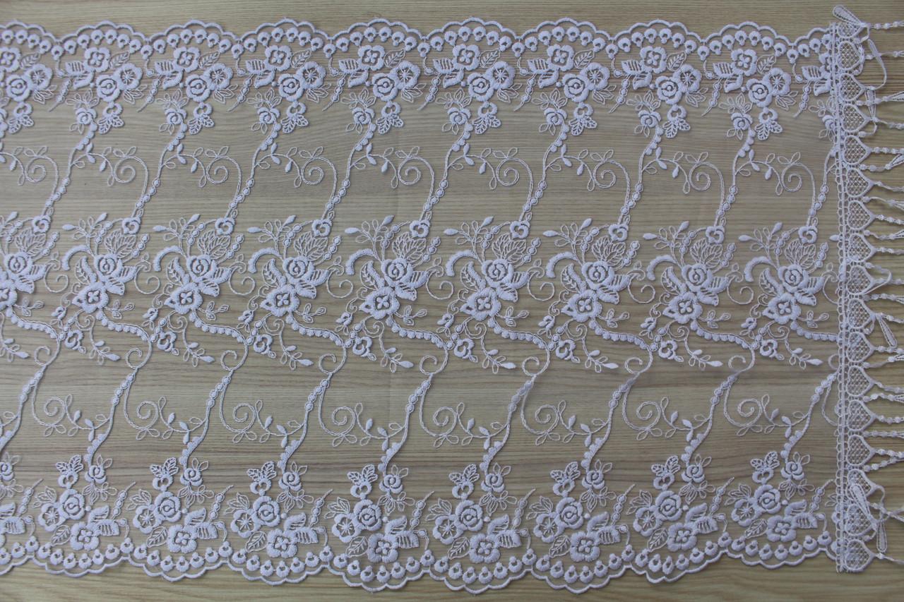 Шарф білий фатиновий ажурний святковий 150-6