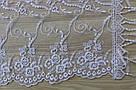 Шарф фатіновий ажурний святковий (білий) 150-6, фото 2