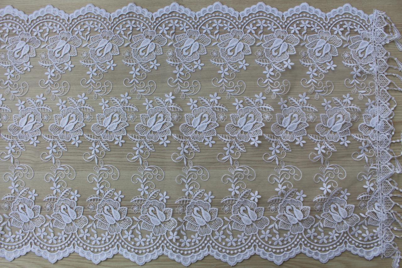 Шарф білий фатиновий ажурний святковий 150-9