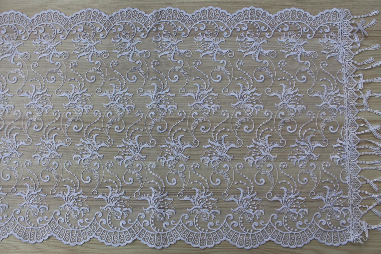 Шарф білий фатиновий ажурний святковий 150-10