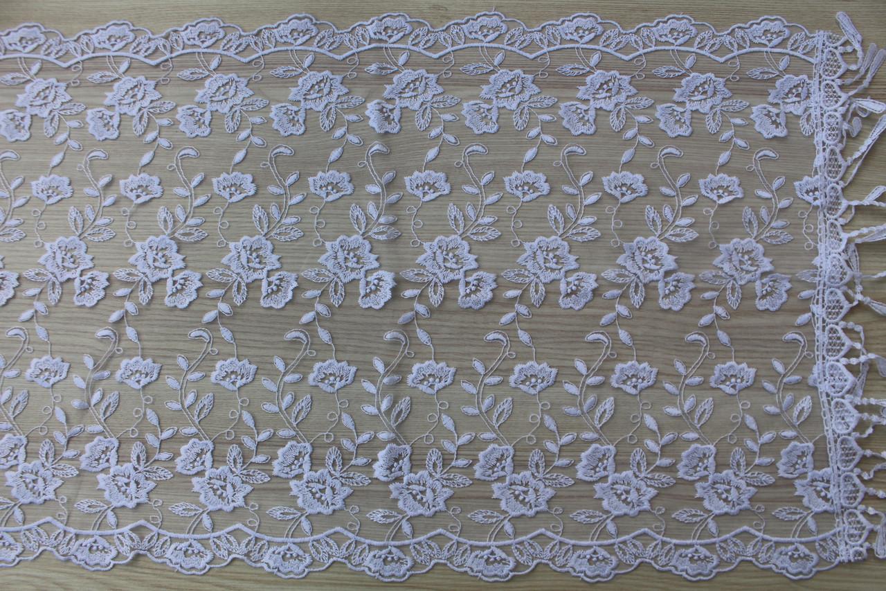 Шарф білий фатиновий ажурний святковий 150-12