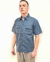 Рубашка мужская джинсовая с коротким рукавом Светло синий, 2XL