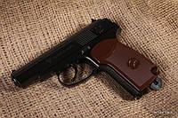 Пистолет Макарова пневмат ПМ подвижный затвор + 5 баллонов + 500 шт. шариков