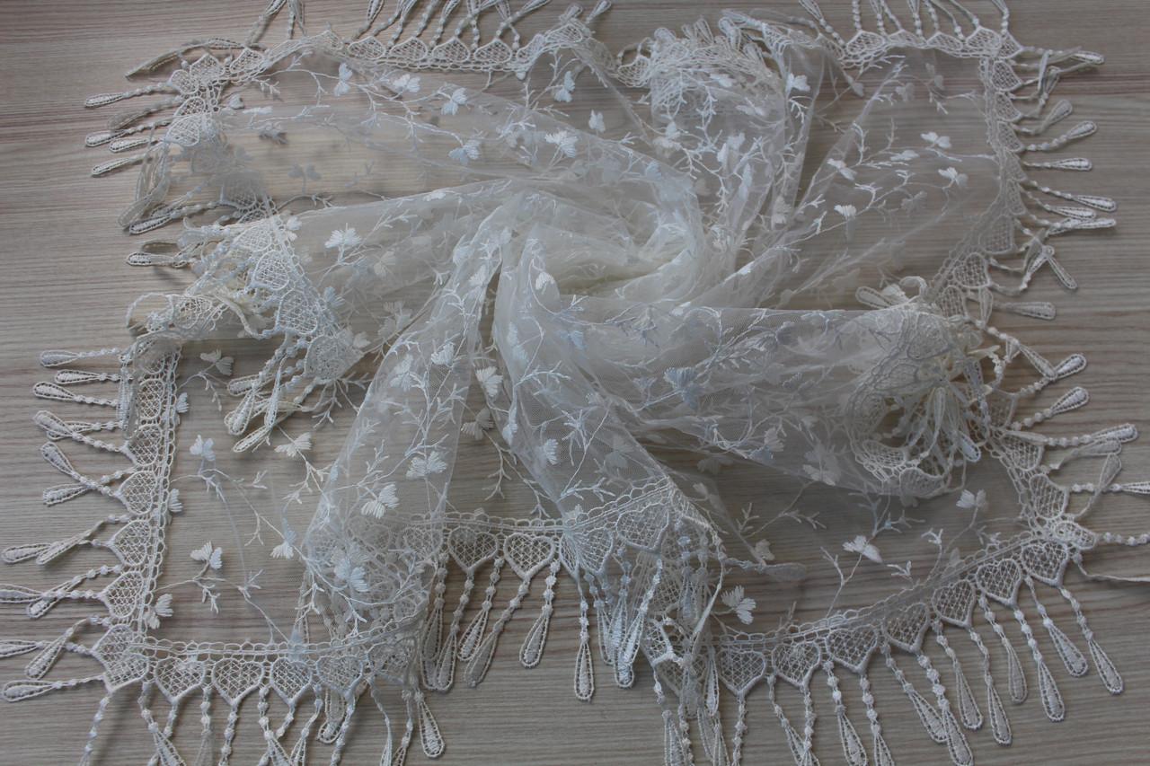 Хустка молочна фатинова ажурна святкова 230-10