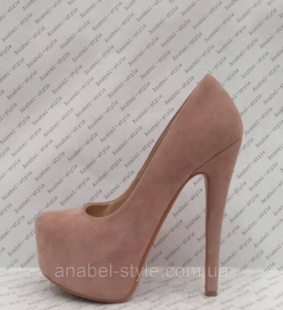 Туфли женские замшевые на каблуке Ла6уте$ Loubouti$ цвета пудры Код 2076