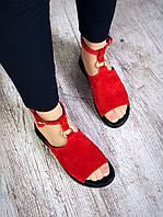 Замшевые босоножки на низком ходу 36-40 р красный, фото 1