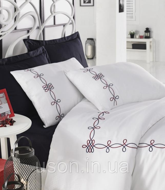Комплект постельного белья сатин люкс c вышивкой евро Dantela Vita Embroidered Viola
