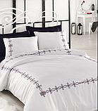 Комплект постельного белья сатин люкс c вышивкой евро Dantela Vita Embroidered Viola, фото 2