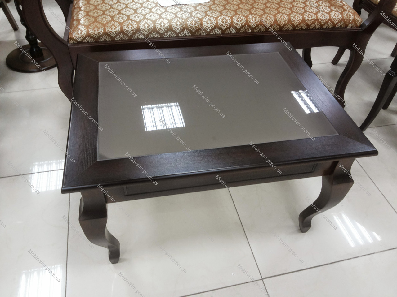 Стіл журнальний прямокутний зі скляною стільницею Рим-2 Модуль люкс, колір темний горіх
