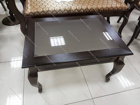 Стіл журнальний прямокутний зі скляною стільницею Рим-2 Модуль люкс, колір темний горіх, фото 2
