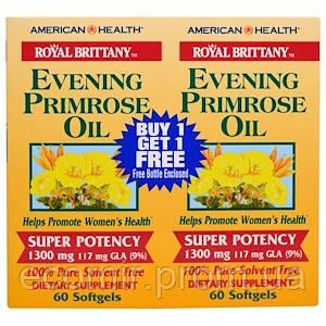 Масло примулы вечерней, American Health, 2 флакона (1300 мг / 120 капсул)