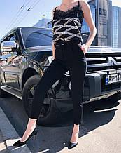 Брюки женские высокая талия на поясе черные