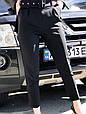 Брюки женские высокая талия на поясе черные, фото 3