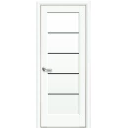 """Межкомнатная дверь ПВХ """"Мира"""" с черным стеклом (Белый мат)"""