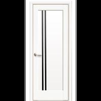 """Межкомнатная дверь ПВХ """"Делла"""" с черным стеклом (Белый мат)"""