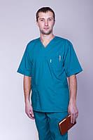 Чоловічий медичний брючний костюм бірюзовий х/б