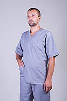 Чоловічий медичний брючний костюм сірий х/б