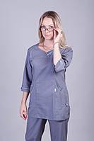 Женский медицинский брючный костюм серый батист