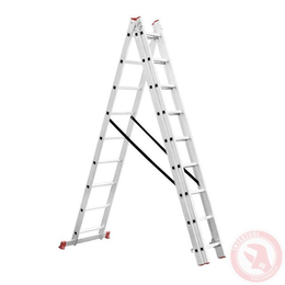 Лестница алюминиевая 3-х секционная универсальная раскладная 3x9 ступ. 5,93 м INTERTOOL LT-0309