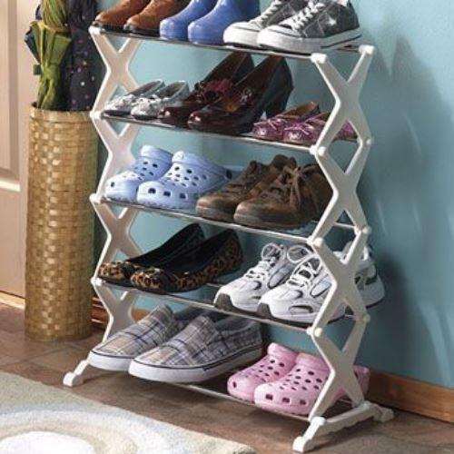 Стойка органайзер для обуви Shoe Rock 5 полок 15 пар бежевая Универсальная Компактная Аккуратная для сумок