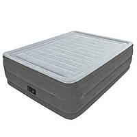 Двухспальная надувная флокированная кровать Intex 64418 со встроенным насосом 220V (203*152*56 см)