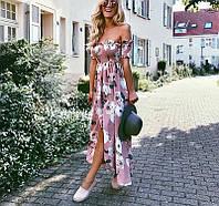 Невероятное женское летнее платье с цветочным принтом без бретелей