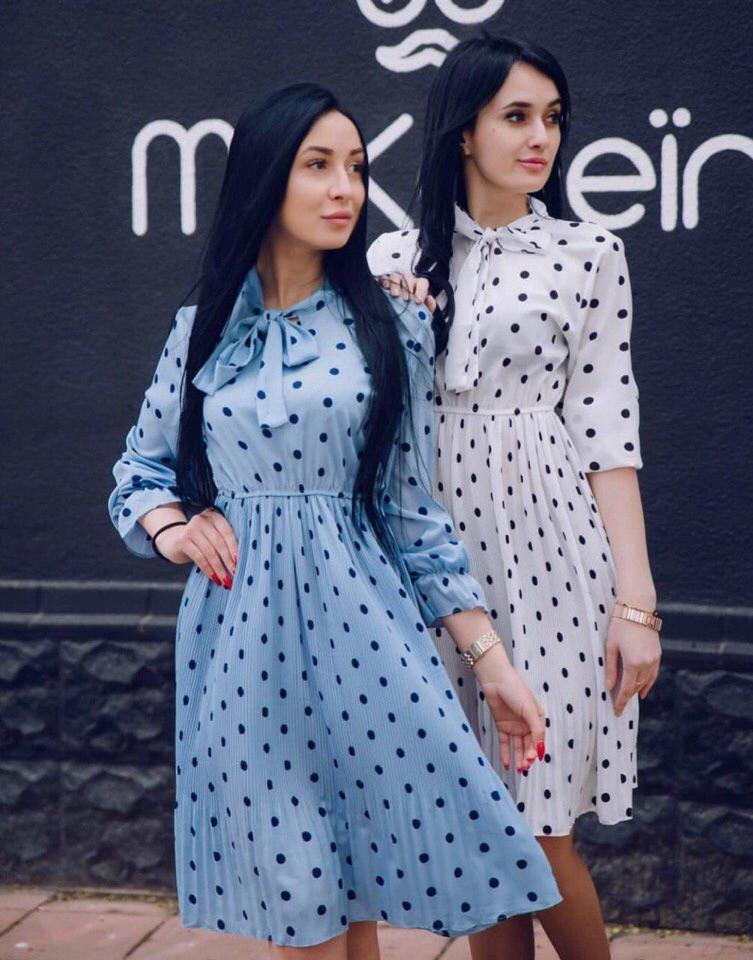83c7f89978b Женское шифоновое платье в горох   продажа