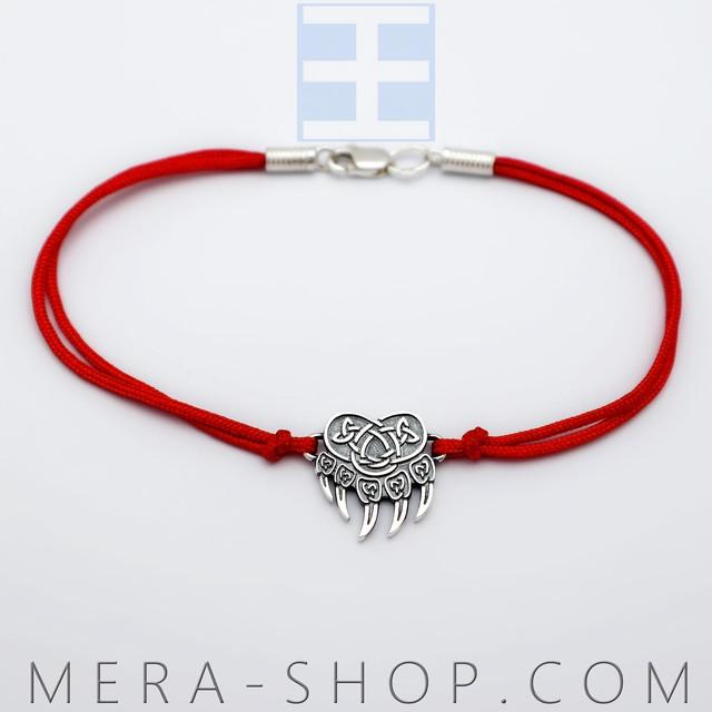 Красный браслет с серебряным оберегом печать велеса