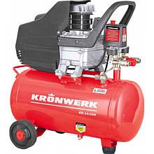 Компрессор KRONWERK пневматический, 1,5 кВт, 198 л/мин, 24 л (58041)