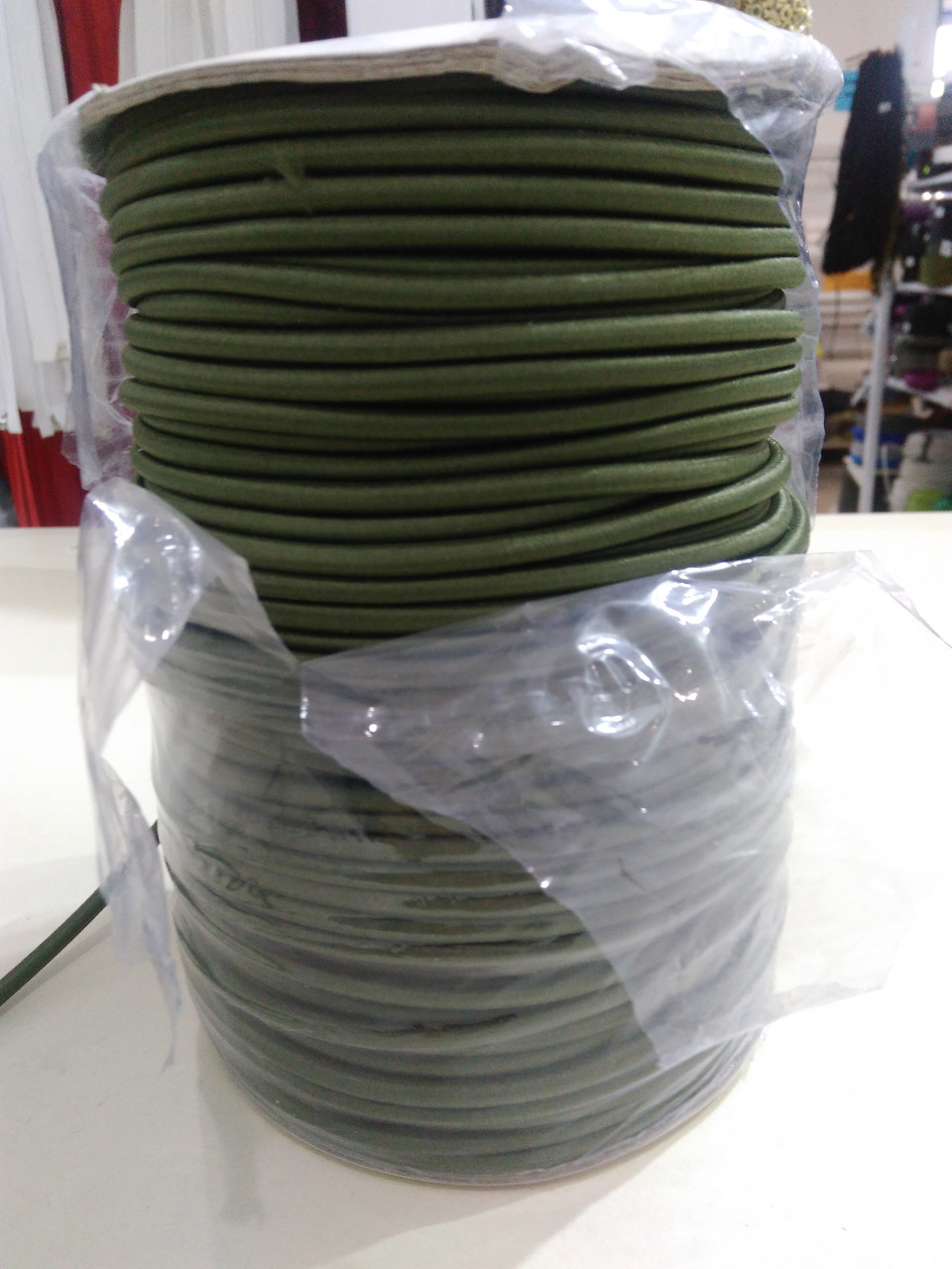 Резинка шляпная 4мм цв S-566 хаки (уп 100м, 131,6м) МН