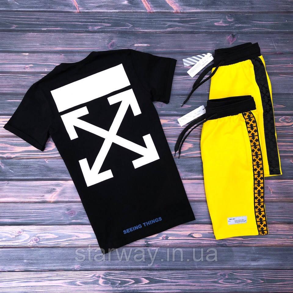 Шорты желтые с лампасом Off White | логотип нашивка | бирка