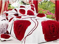 Постельное белье  Bianca сатин фотопринт ТМ Arya (Ария) Турция, белый красные розы