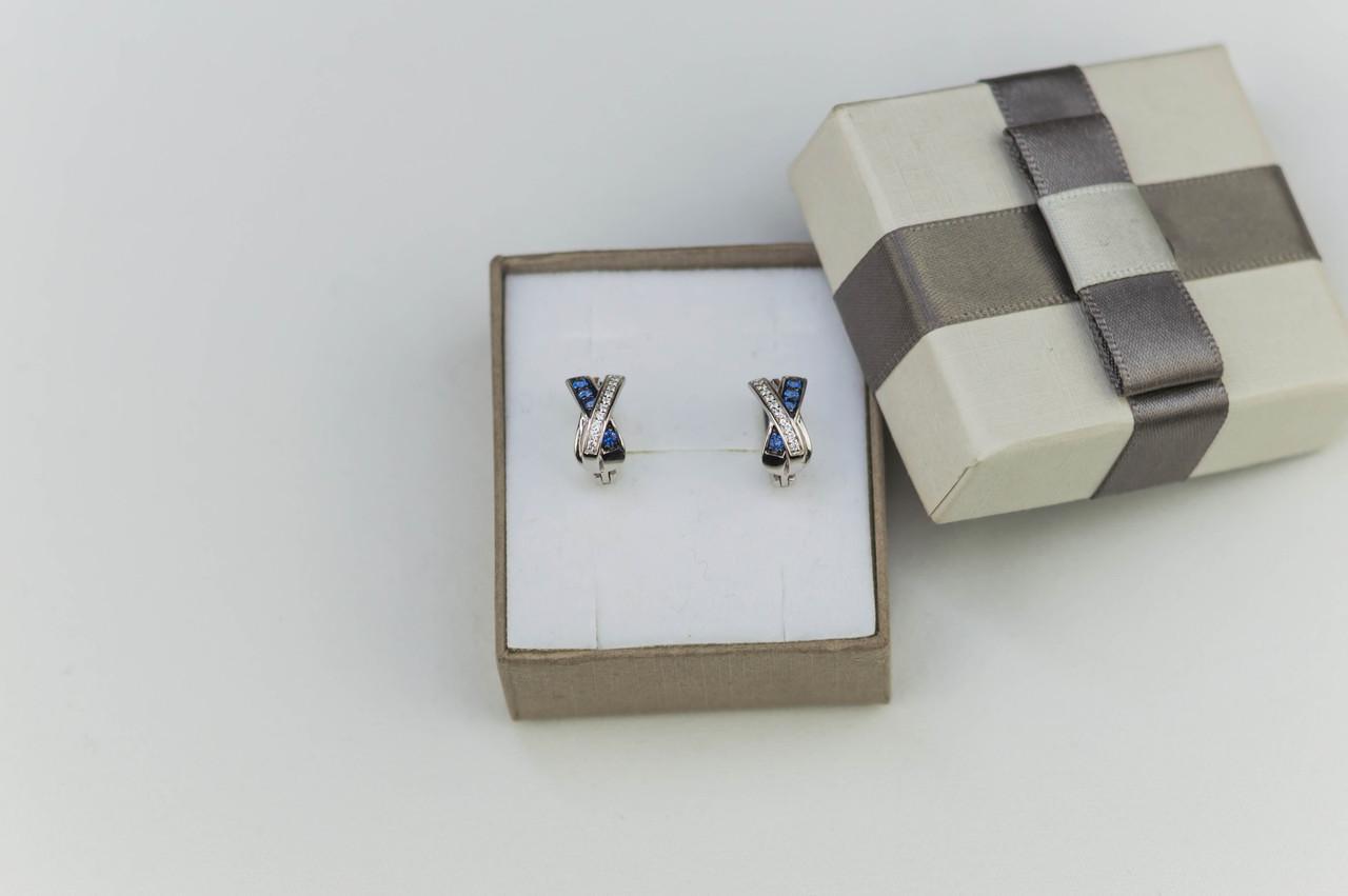 Серебряные серьги с кубическим цирконием 925 пробы женские/0178, фото 1