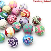 Бусина из Полимерной глины, Цвет: Микс, Шар, Цвет: Микс, 12 мм - 13 мм диаметр, 2 мм, Упаковка 10 шт.