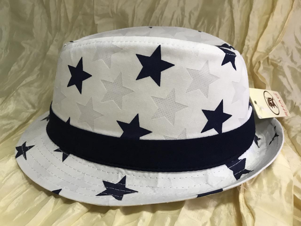 Детско подростковая шляпа белая в синих звёздах 50 -52 см