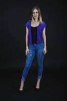 491b86cc37f Женская вязаная кофта - сетка с коротким рукавом фиолетового цвета