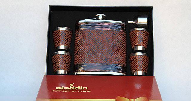 Подарочный набор с флягой кожаный, фото 2