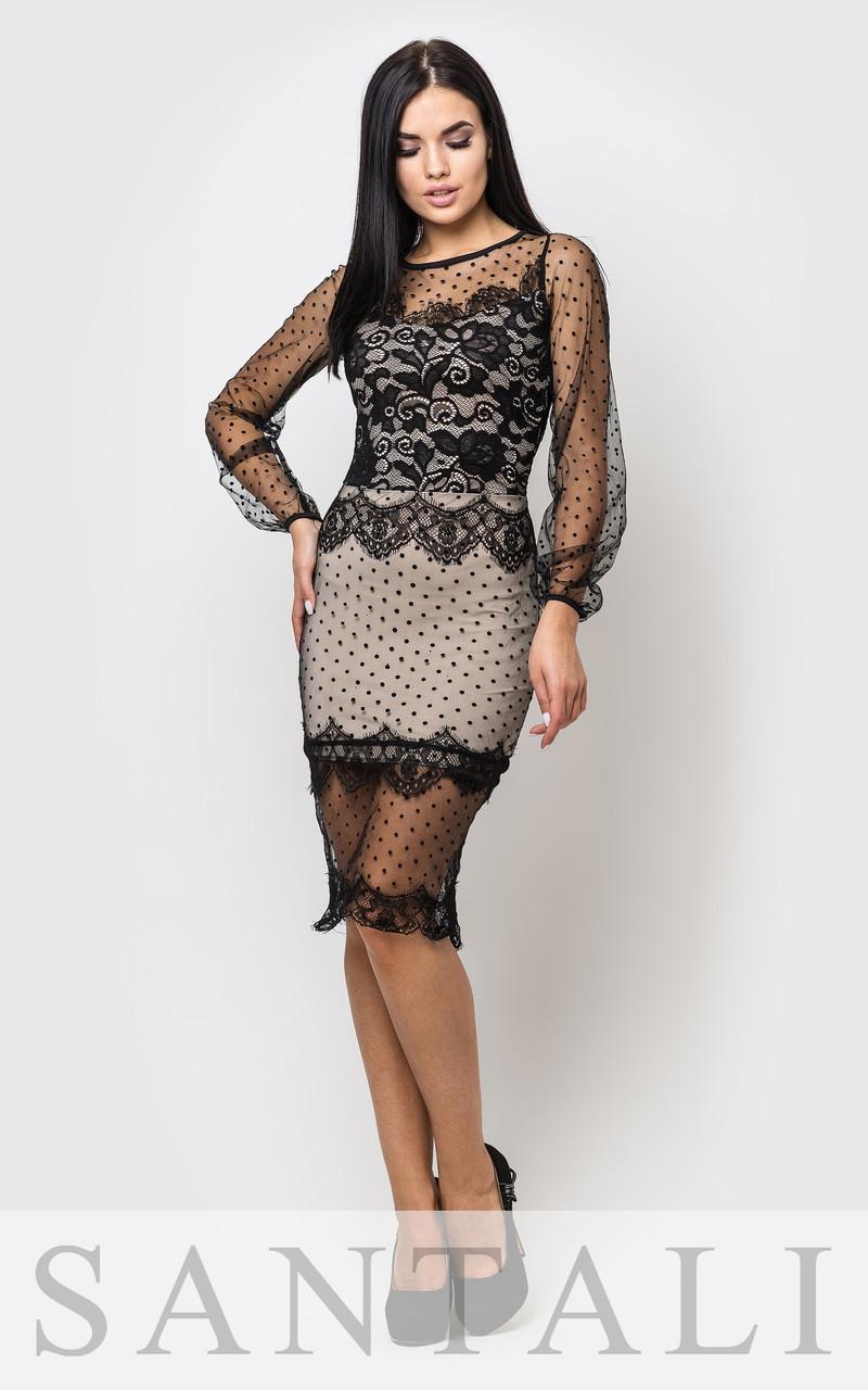 97a3ee77e84e206 Нарядное платье с гипюром и сеткой в горошек 45031984liv - Livian Brand  Store - интернет-