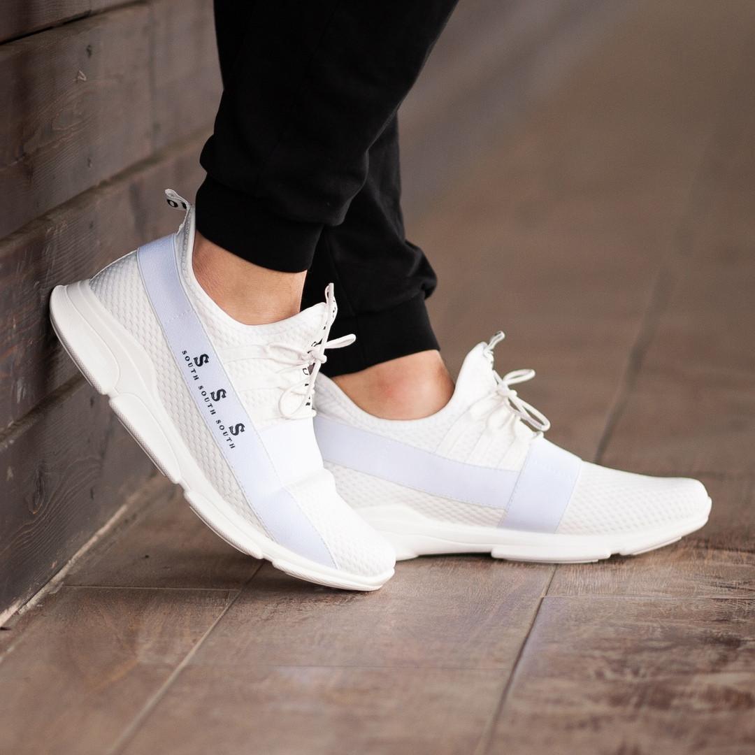 Мужские кроссовки South Fresh White, легкие классические белые кроссовки на лето